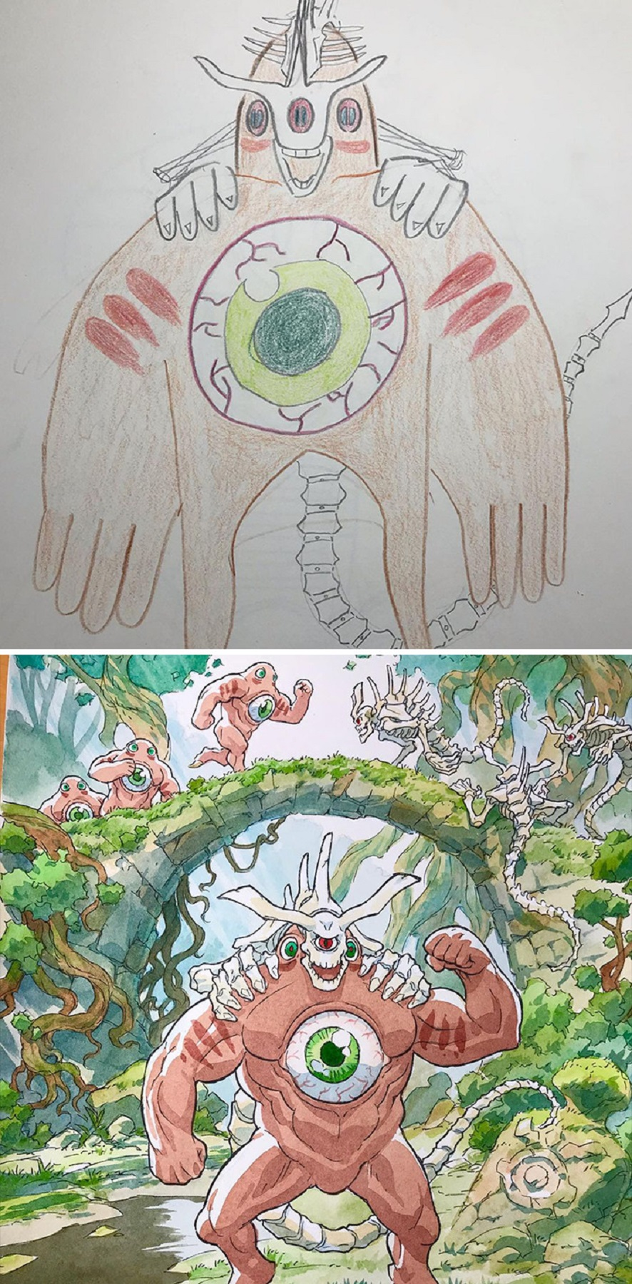 Thomas Romain artista frances transforma rabiscos em personagens de anime para incentivar lado artistico de seus filhos 5
