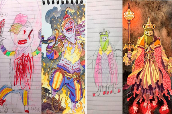 Thomas Romain artista frances transforma rabiscos em personagens de anime para incentivar lado artistico de seus filhos 50