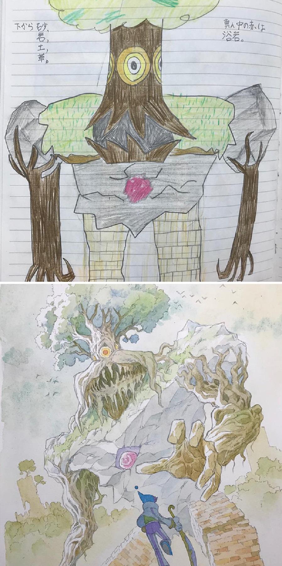 Thomas Romain artista frances transforma rabiscos em personagens de anime para incentivar lado artistico de seus filhos 6