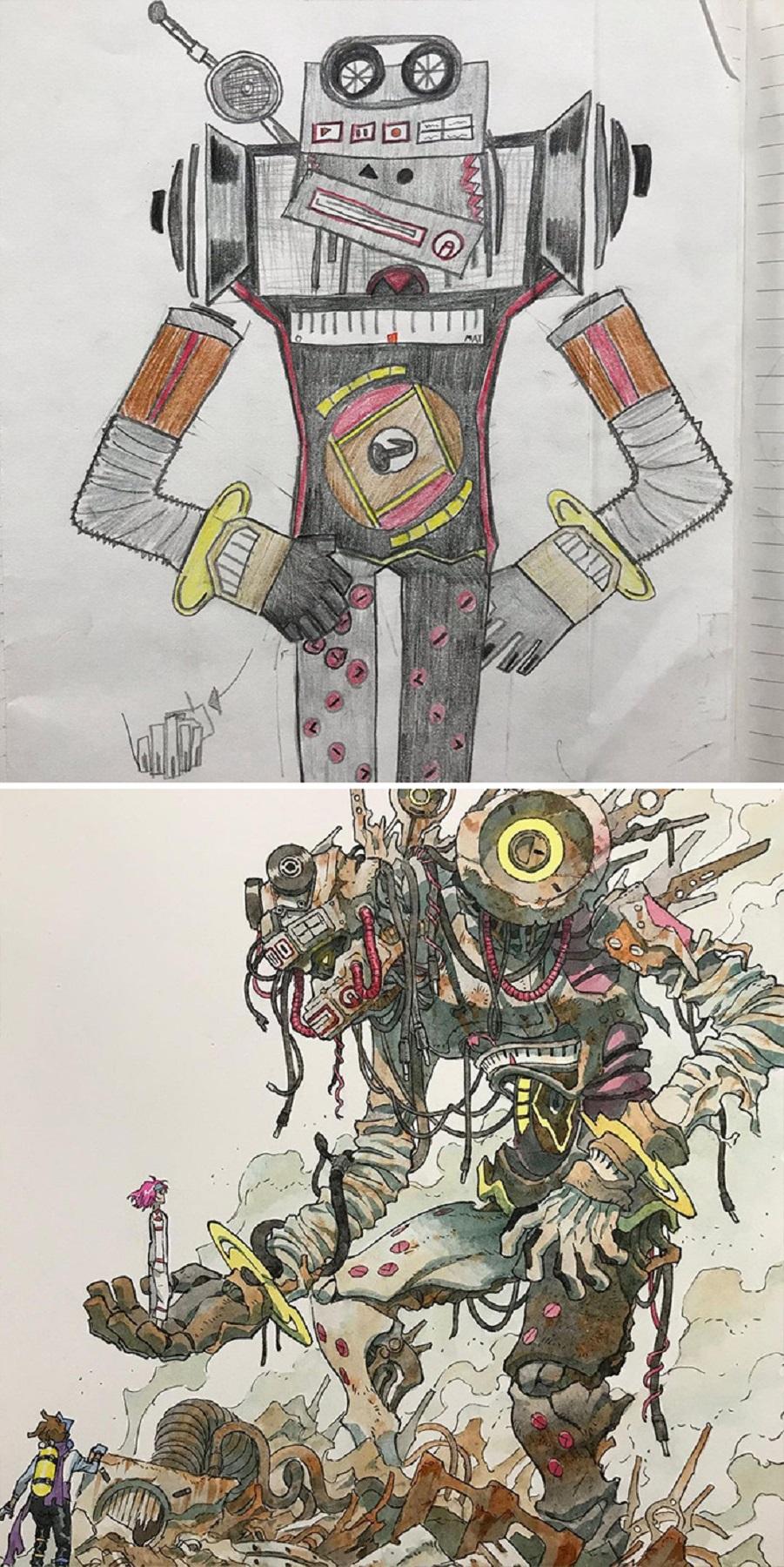Thomas Romain artista frances transforma rabiscos em personagens de anime para incentivar lado artistico de seus filhos 7