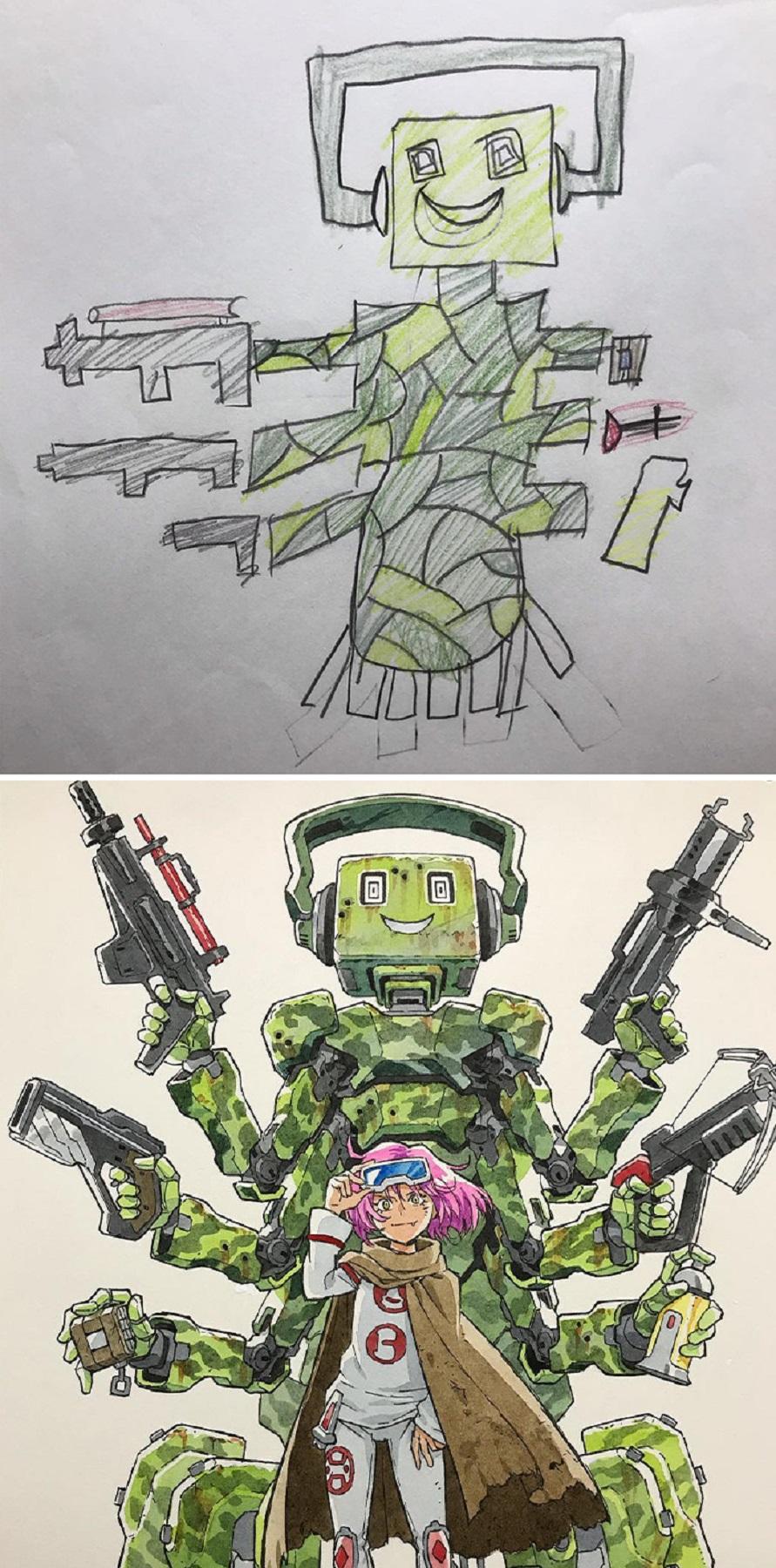 Thomas Romain artista frances transforma rabiscos em personagens de anime para incentivar lado artistico de seus filhos 8