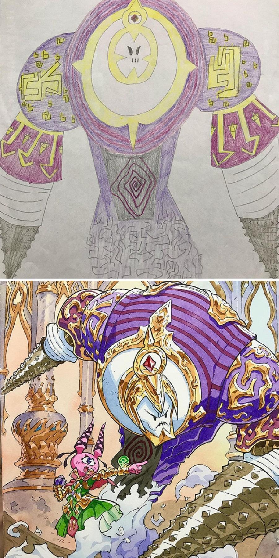 Thomas Romain artista frances transforma rabiscos em personagens de anime para incentivar lado artistico de seus filhos 9
