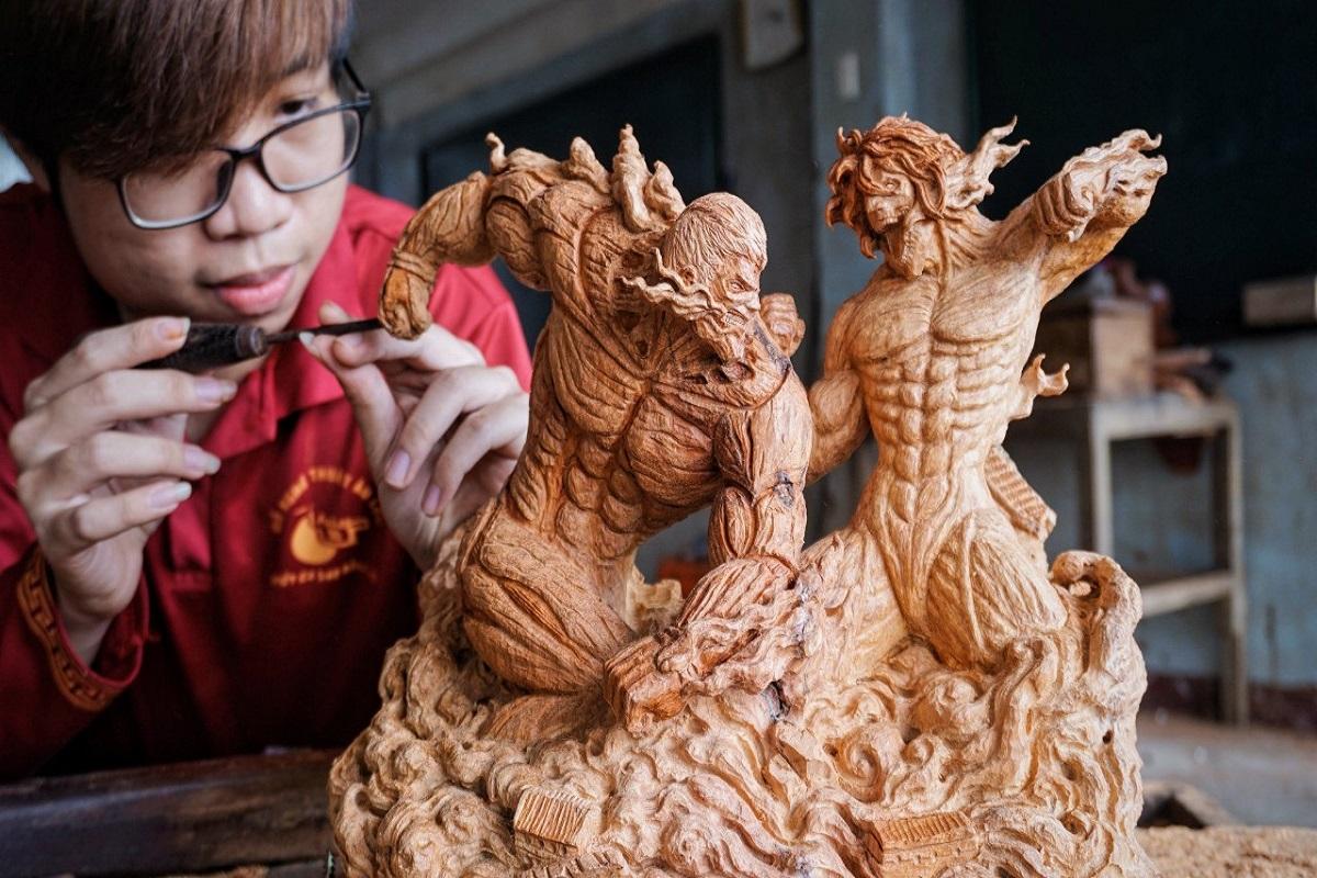 Duy Tran: escultura do anime Attack on Titan criada por artista vietnamita