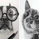 Helen Violet artista canadense cria retratos de animais de estimacao a lapis 50