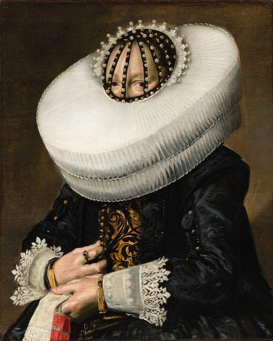 Volker Hermes artista adiciona mascaras em pinturas classicas 1