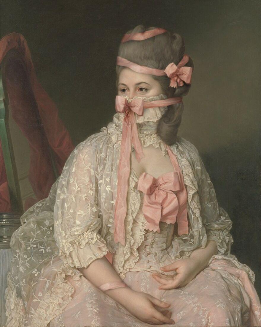 Volker Hermes artista adiciona mascaras em pinturas classicas 10
