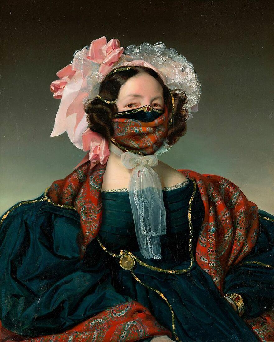 Volker Hermes artista adiciona mascaras em pinturas classicas 11