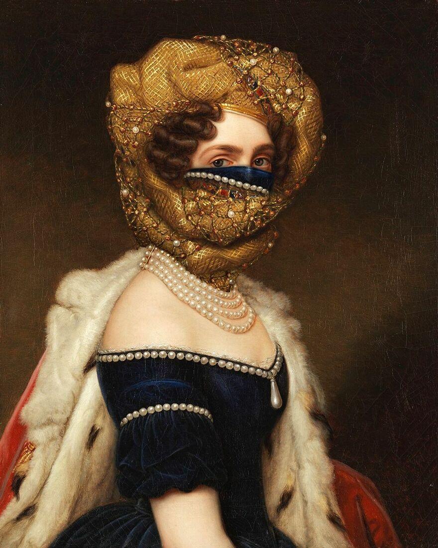 Volker Hermes artista adiciona mascaras em pinturas classicas 12