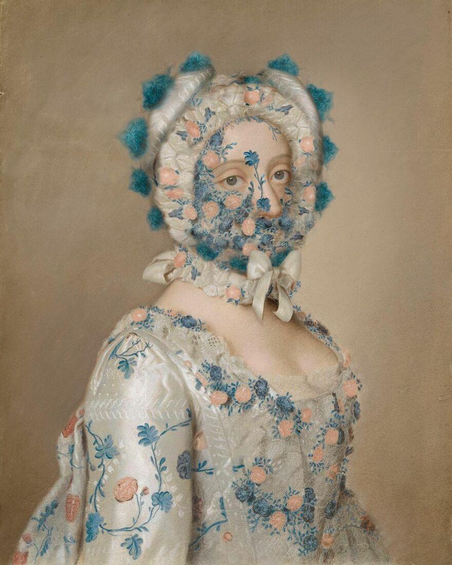 Volker Hermes artista adiciona mascaras em pinturas classicas 13