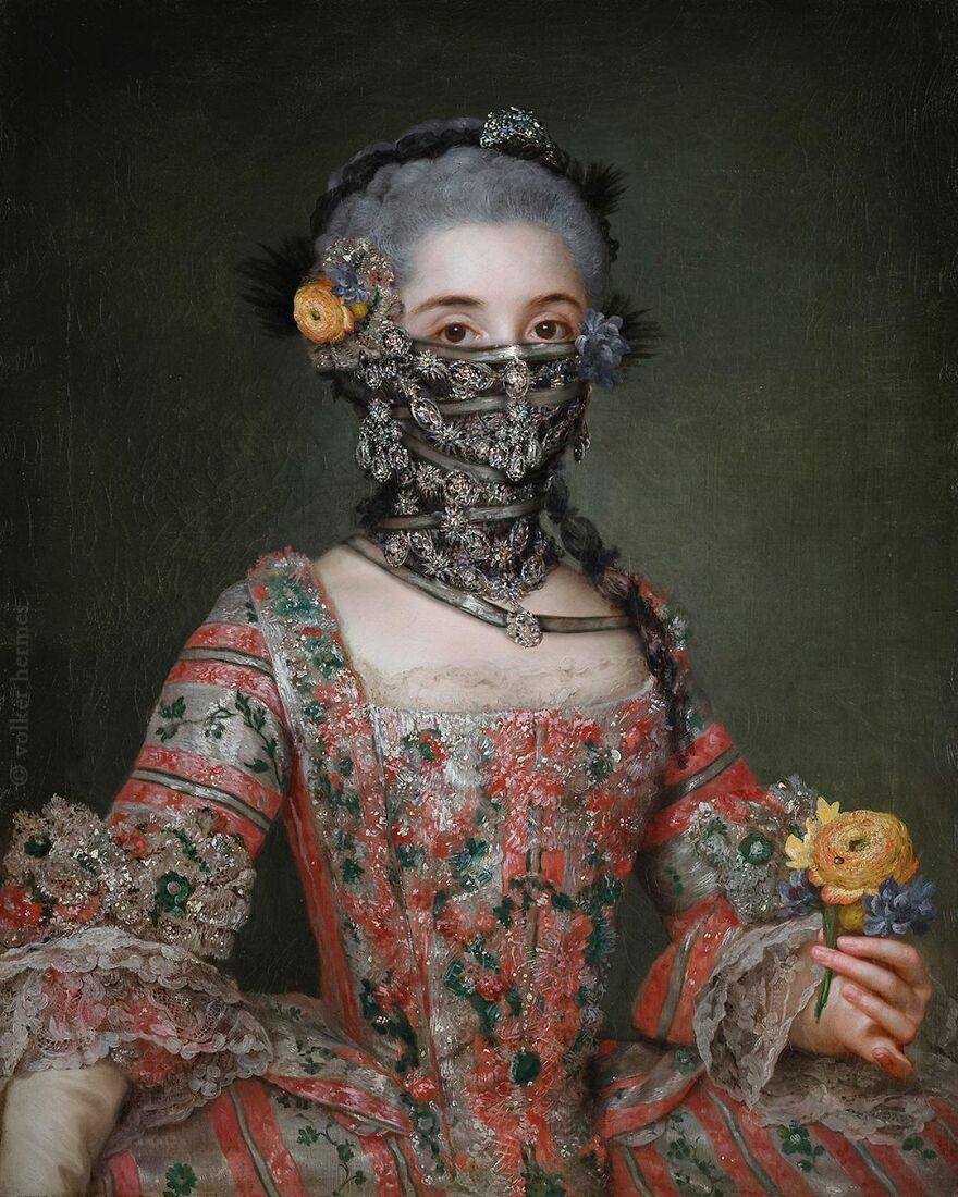 Volker Hermes artista adiciona mascaras em pinturas classicas 14