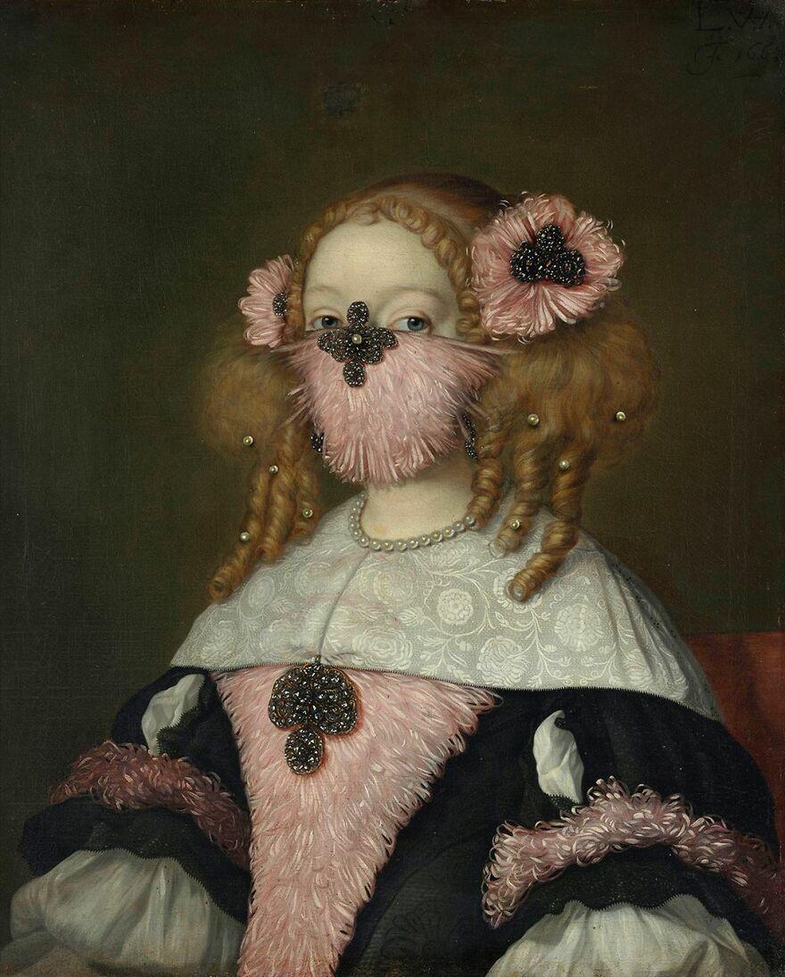 Volker Hermes artista adiciona mascaras em pinturas classicas 16
