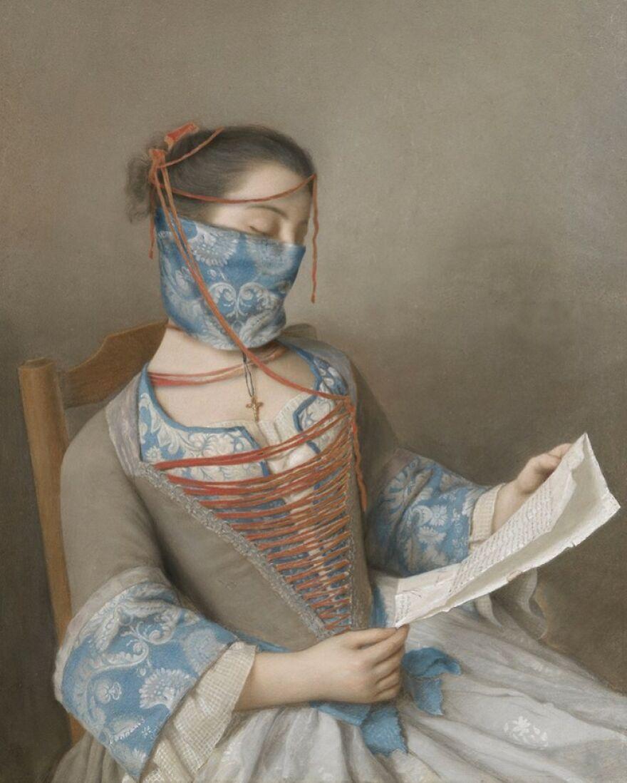 Volker Hermes artista adiciona mascaras em pinturas classicas 18
