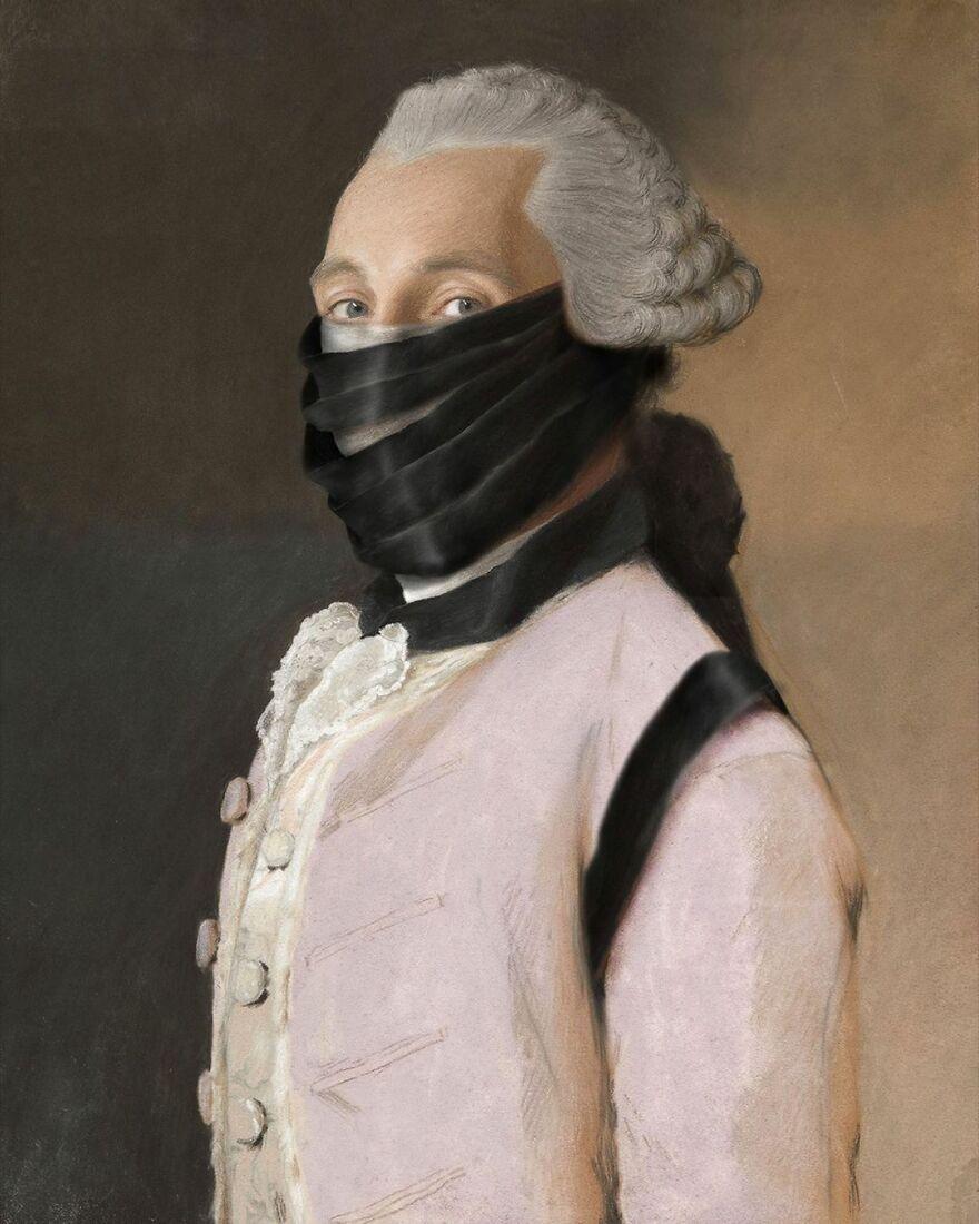 Volker Hermes artista adiciona mascaras em pinturas classicas 19