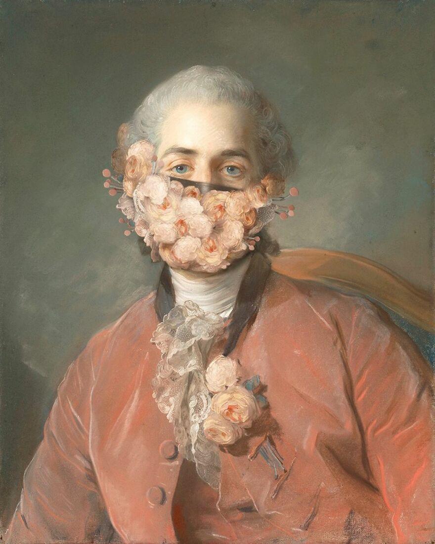 Volker Hermes artista adiciona mascaras em pinturas classicas 2