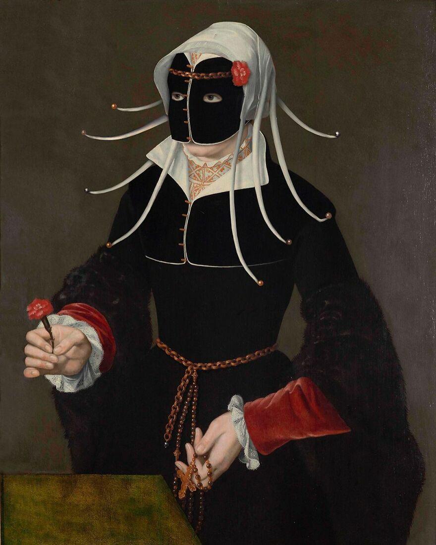 Volker Hermes artista adiciona mascaras em pinturas classicas 20