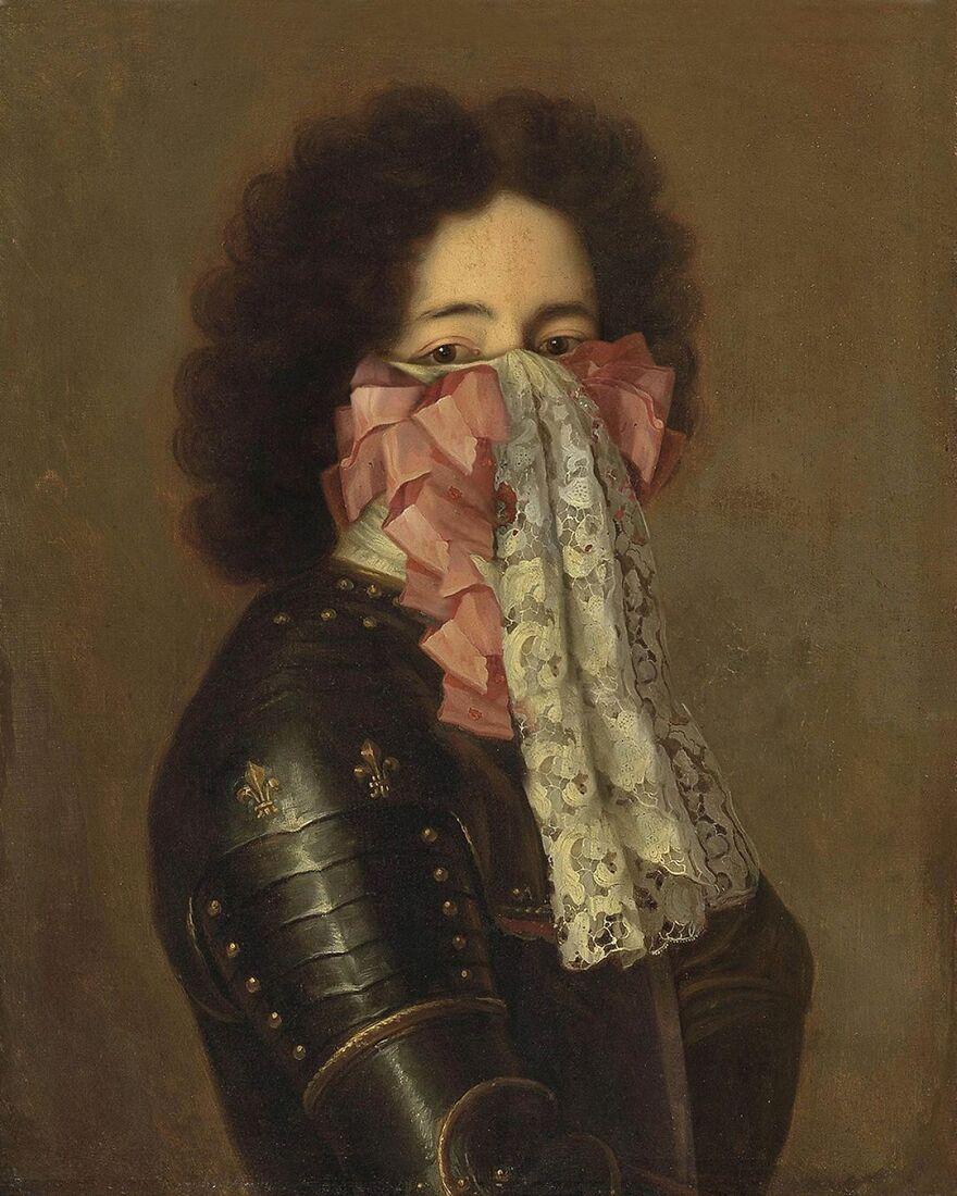 Volker Hermes artista adiciona mascaras em pinturas classicas 21