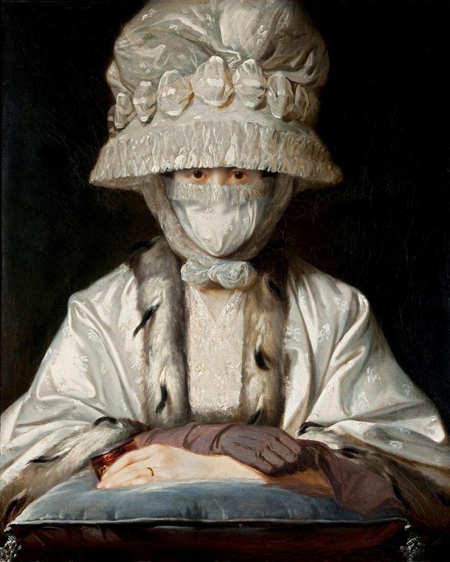 Volker Hermes artista adiciona mascaras em pinturas classicas 4
