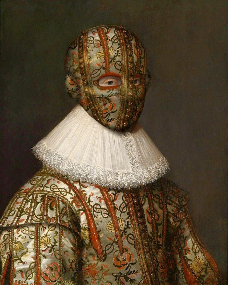 Volker Hermes artista adiciona mascaras em pinturas classicas 7