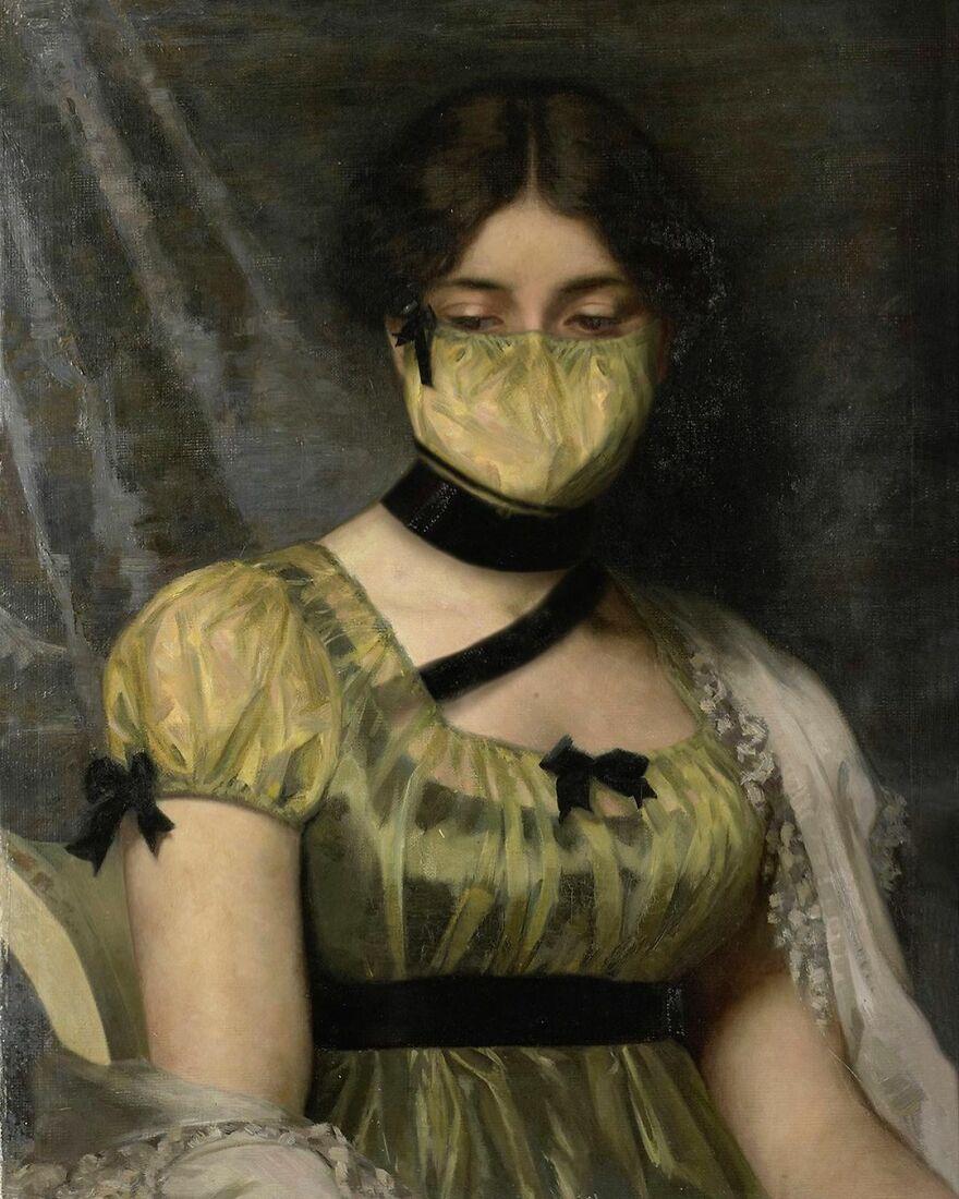 Volker Hermes artista adiciona mascaras em pinturas classicas 8