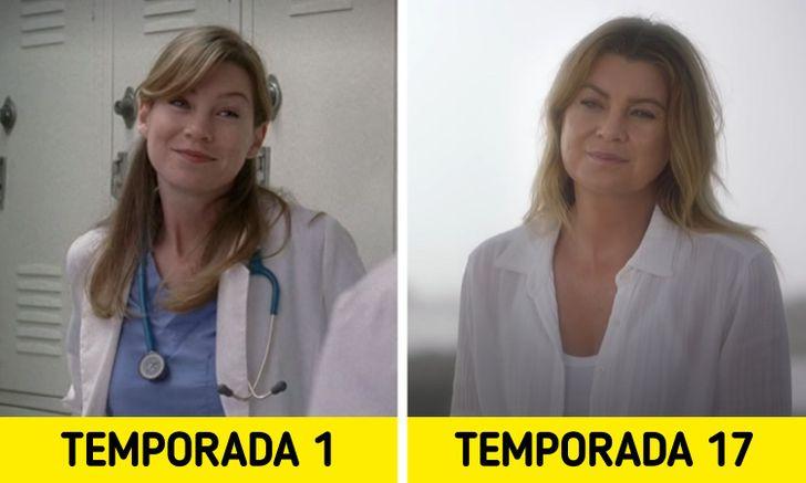 Antes e depois de personagens de Greys Anatomy 1