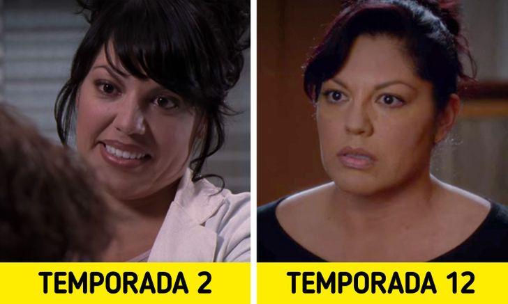 Antes e depois de personagens de Greys Anatomy 10