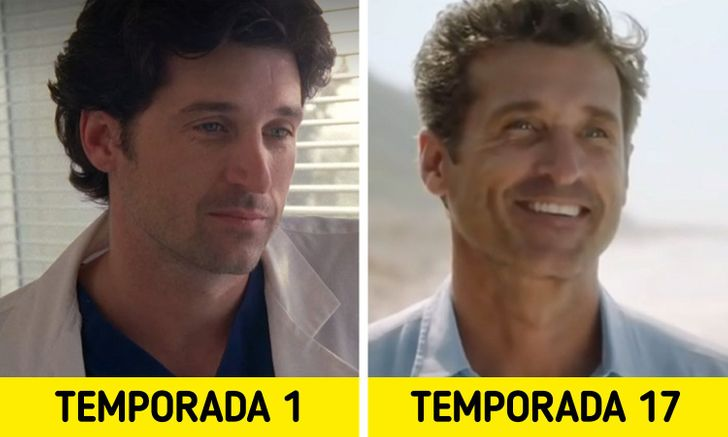 Antes e depois de personagens de Greys Anatomy 5