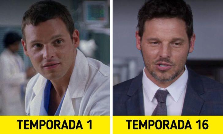 Antes e depois de personagens de Greys Anatomy 6