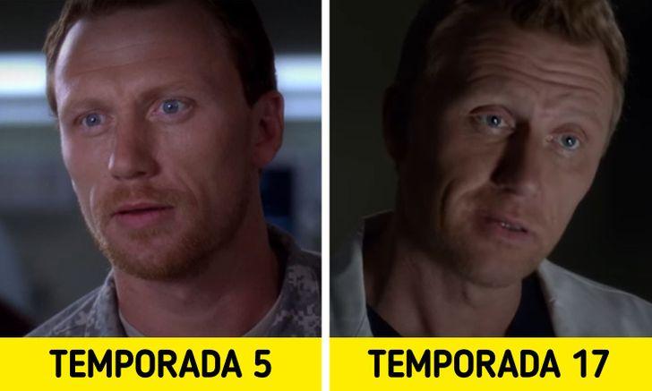 Antes e depois de personagens de Greys Anatomy 7