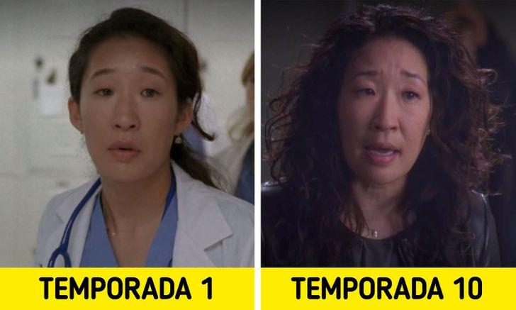 Antes e depois de personagens de Greys Anatomy 8