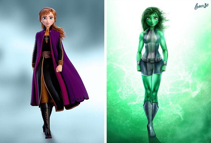Samuel Chevee designer grafico frances cria personagens da Disney como herois da acao 16