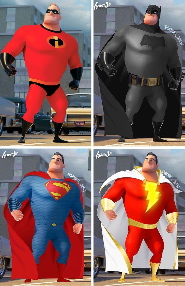 Samuel Chevee designer grafico frances cria personagens da Disney como herois da acao 22