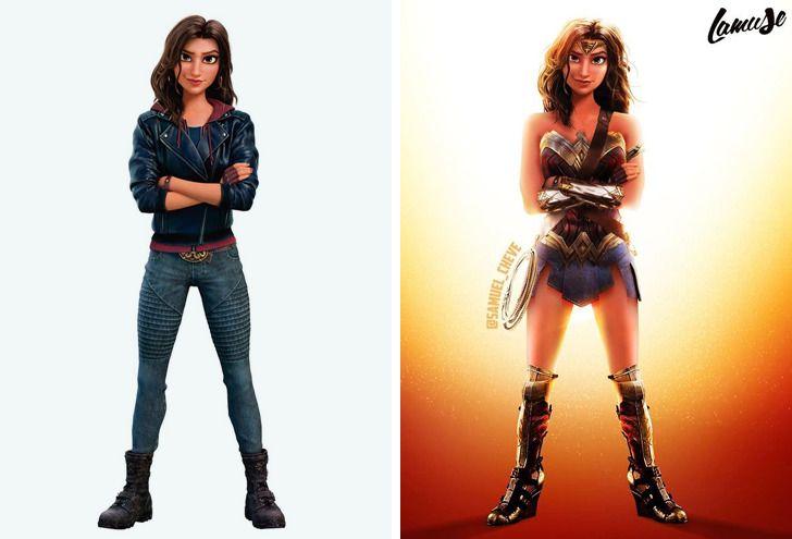Samuel Chevee designer grafico frances cria personagens da Disney como herois da acao 9