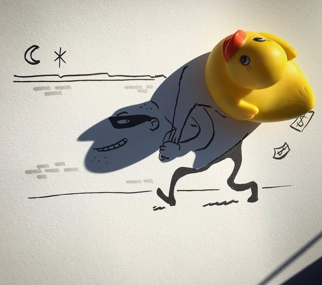 Vincent Bal artista cria ilustracoes com sombras de objetos do cotidiano 1