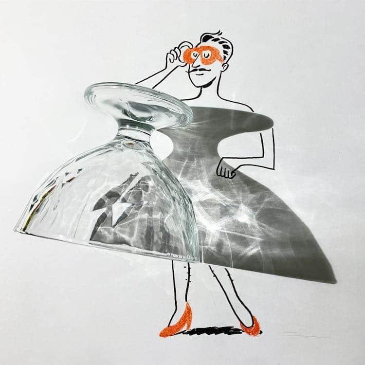Vincent Bal artista cria ilustracoes com sombras de objetos do cotidiano 16