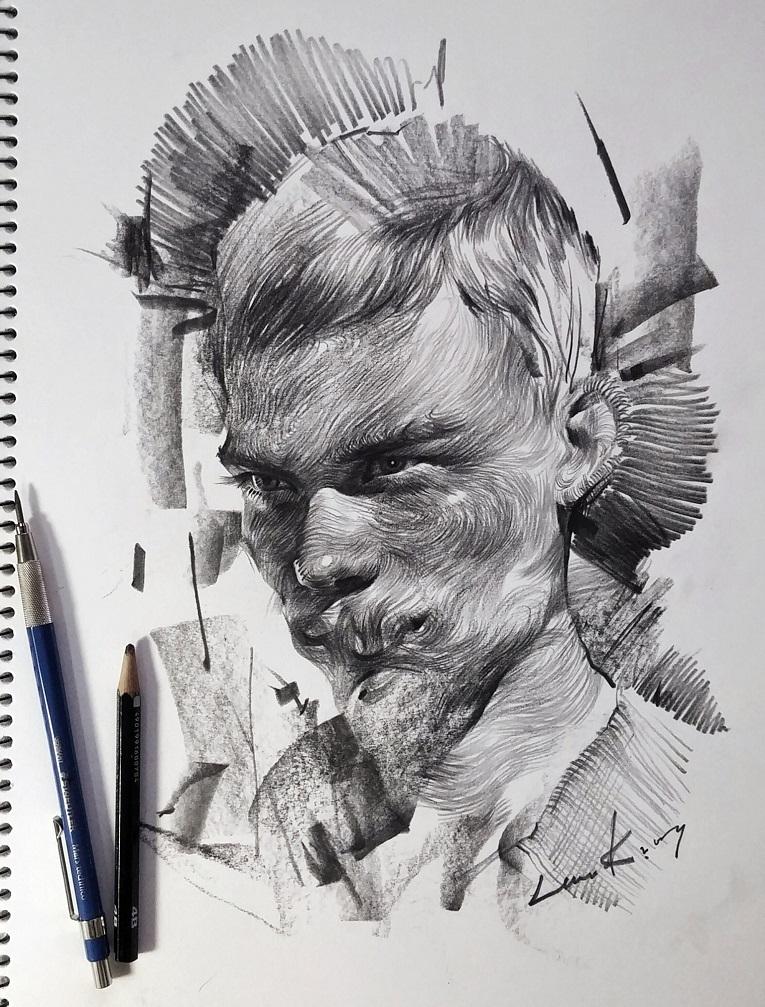 leekillust artista coreano cria retratos dinamicos com carvao lapis e tinta 1
