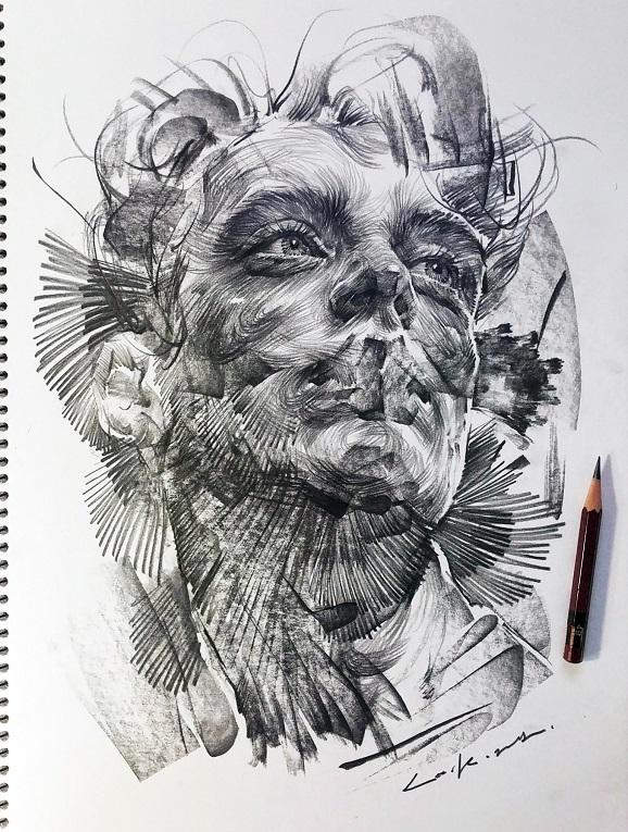 leekillust artista coreano cria retratos dinamicos com carvao lapis e tinta 2