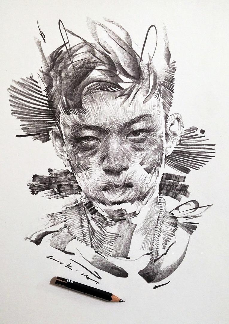 leekillust artista coreano cria retratos dinamicos com carvao lapis e tinta 3