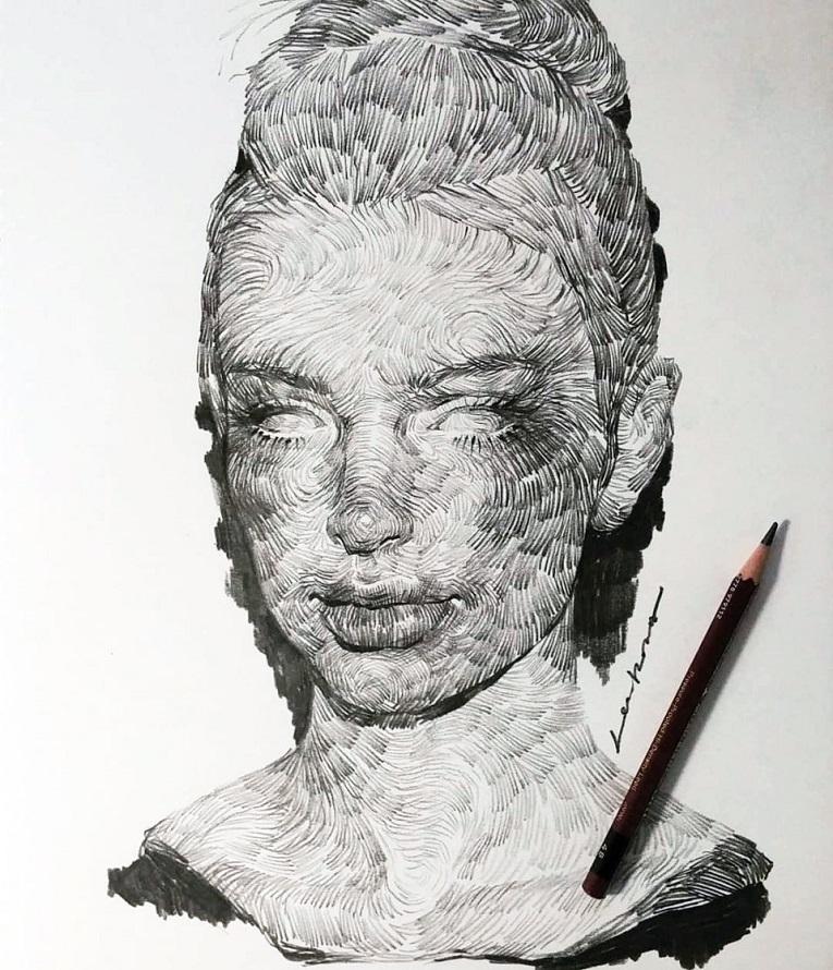 leekillust artista coreano cria retratos dinamicos com carvao lapis e tinta 4