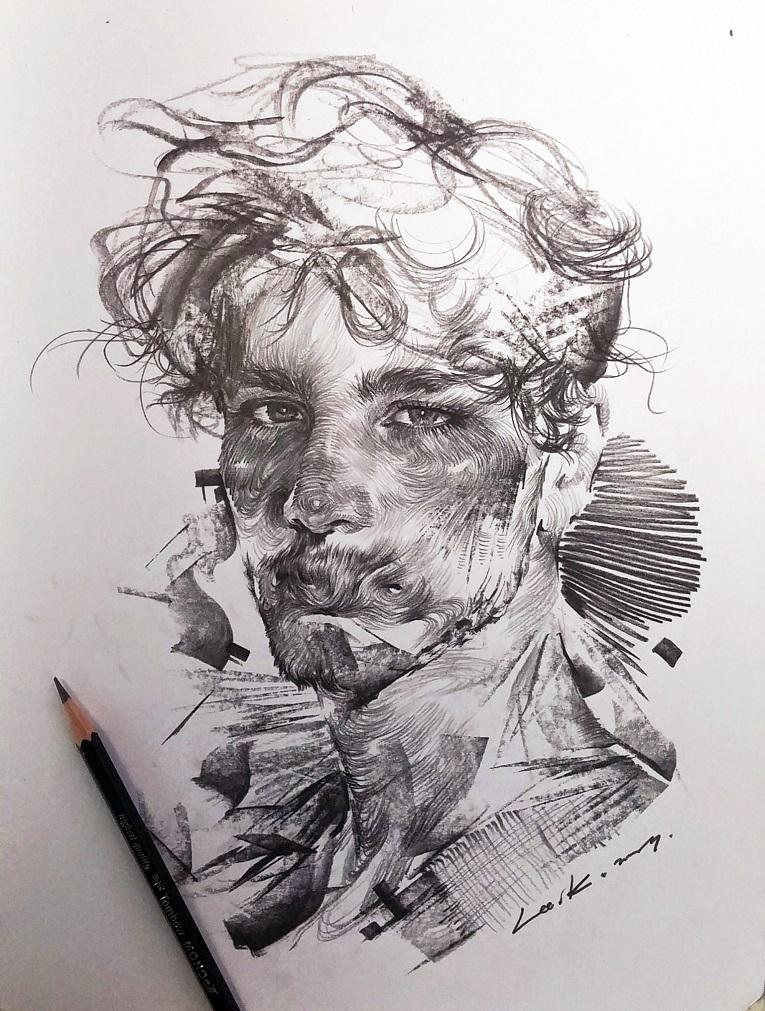 leekillust artista coreano cria retratos dinamicos com carvao lapis e tinta 5