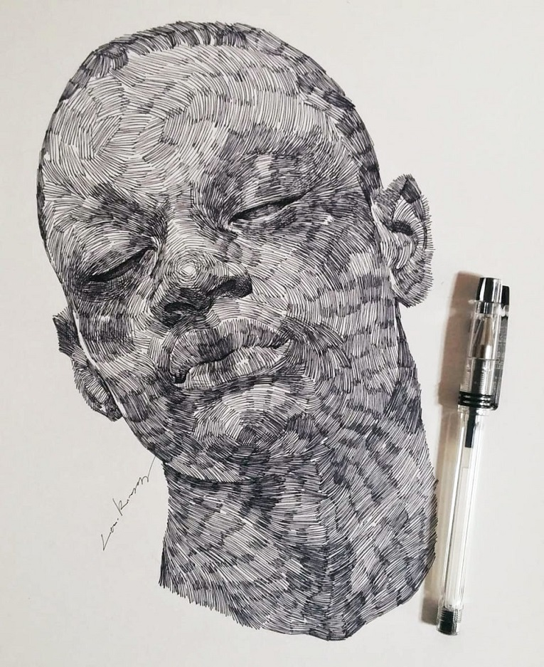 leekillust artista coreano cria retratos dinamicos com carvao lapis e tinta 6