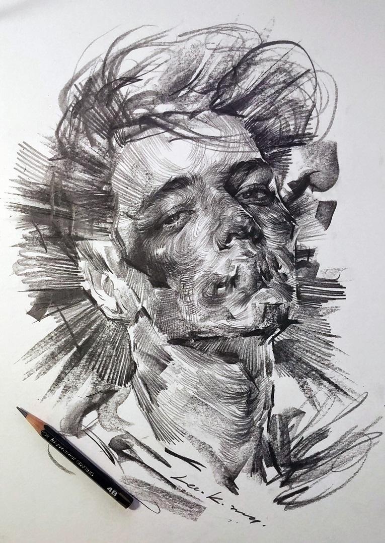 leekillust artista coreano cria retratos dinamicos com carvao lapis e tinta 7