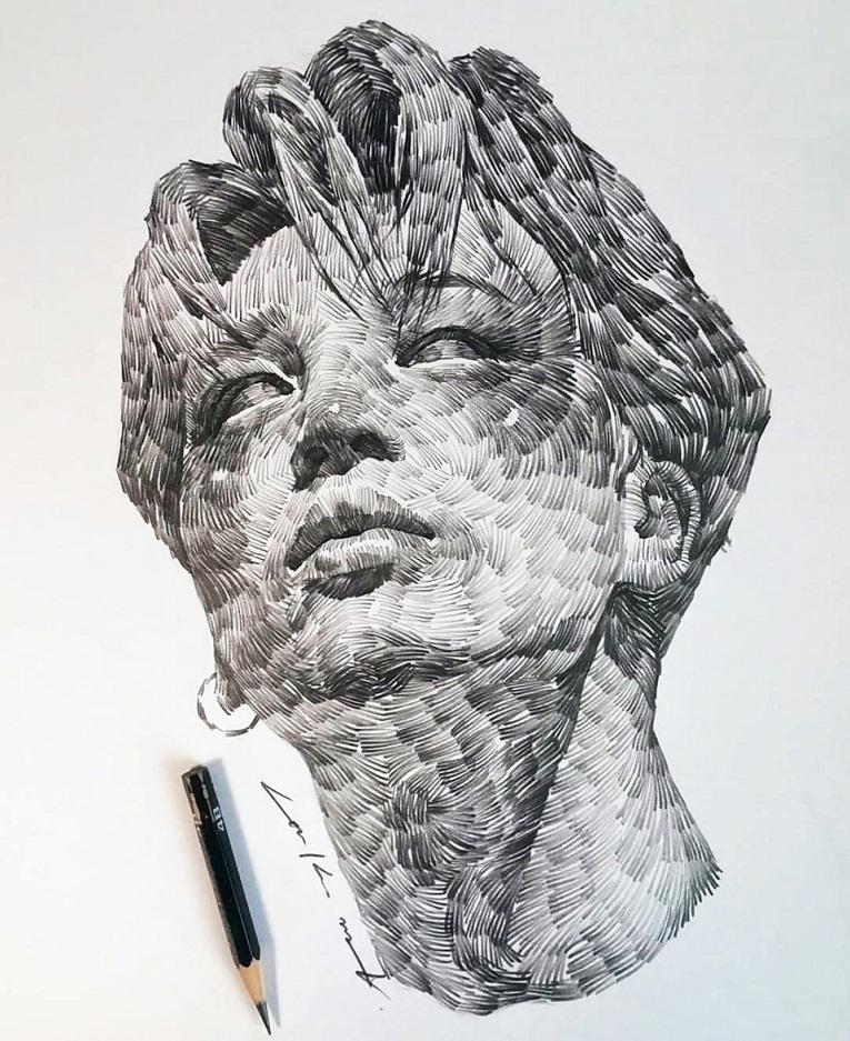 leekillust artista coreano cria retratos dinamicos com carvao lapis e tinta 8