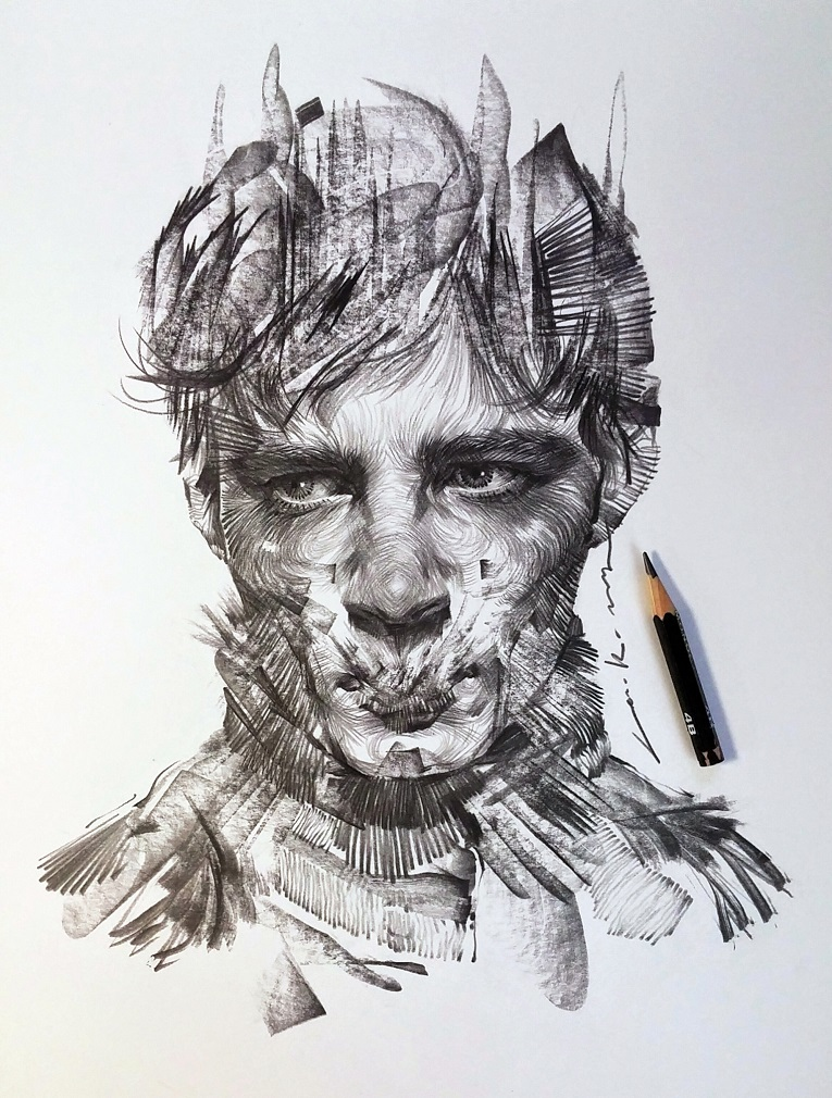 leekillust artista coreano cria retratos dinamicos com carvao lapis e tinta 9