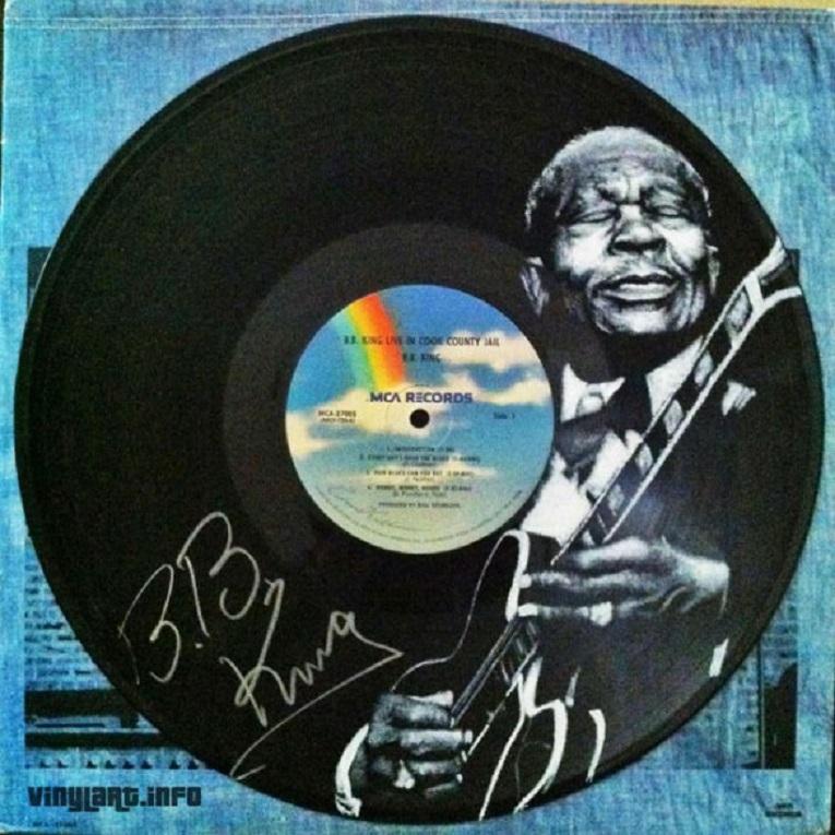 Daniel Edlen artista pinta musicos em discos de vinil 3