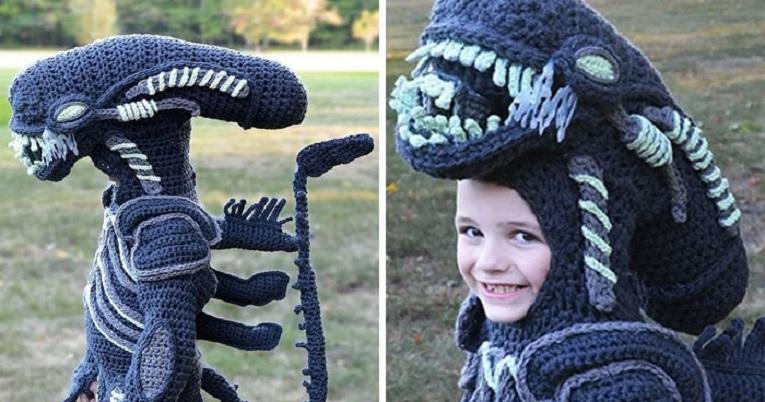 Halloween fantasias de croche que Stephanie Pokorny criou para seus filhos 1