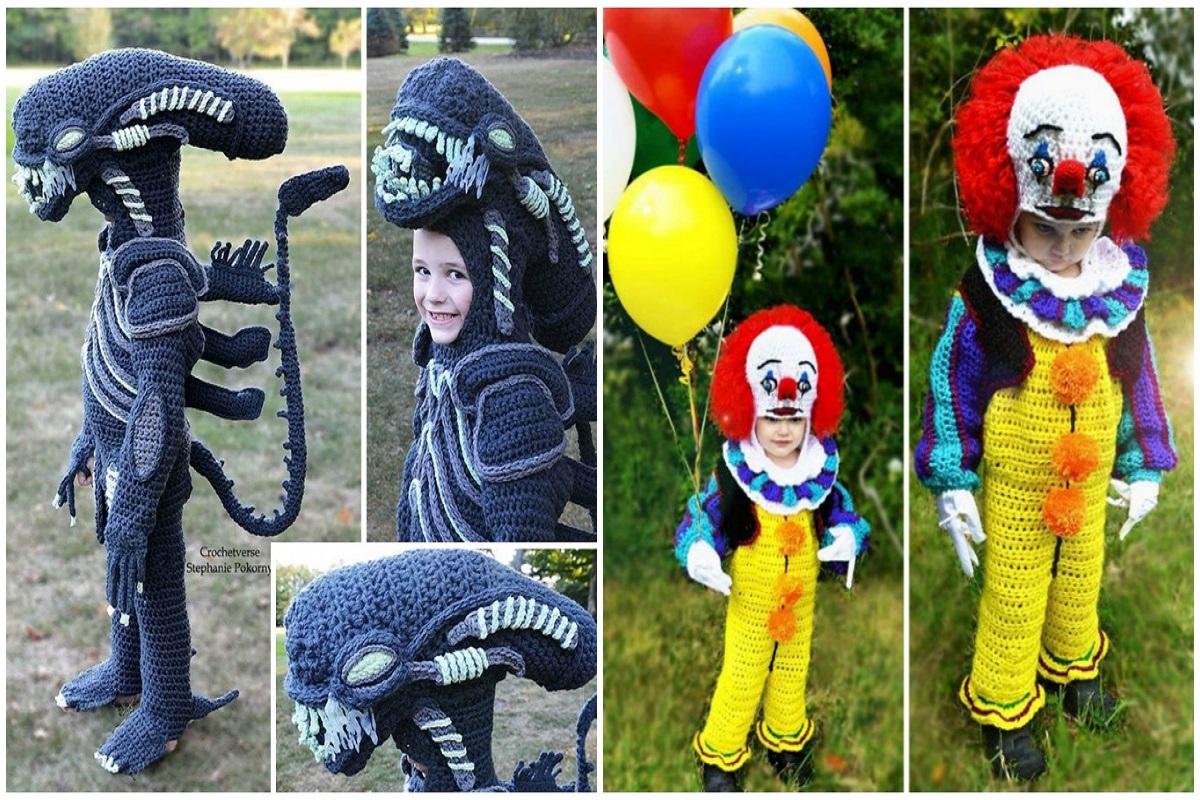 Halloween fantasias de croche que Stephanie Pokorny criou para seus filhos CAPA